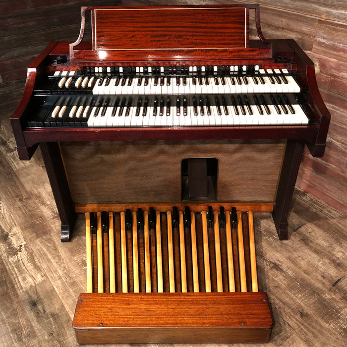 Hammond Vintage (1963) A-100 Organ and Leslie Type 145 Rotary Speaker - Red Mahogany View 2