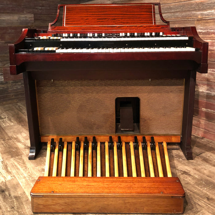 Hammond Vintage (1963) A-100 Organ and Leslie Type 145 Rotary Speaker - Red Mahogany View 3