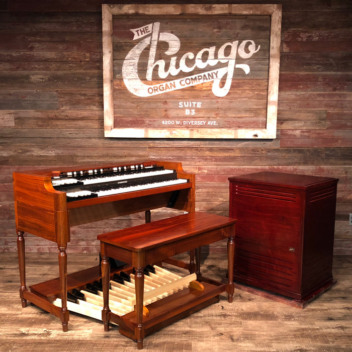 Hammond Vintage A-3 Organ and Leslie Type 3300 Rotary Speaker - Red Walnut - The Chicago Organ Company