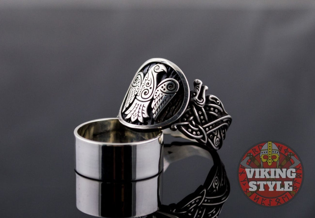 Norse Raven Ring - Wolf, 925 Silver