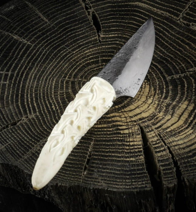 Hand Forged Knife with Carved Handle