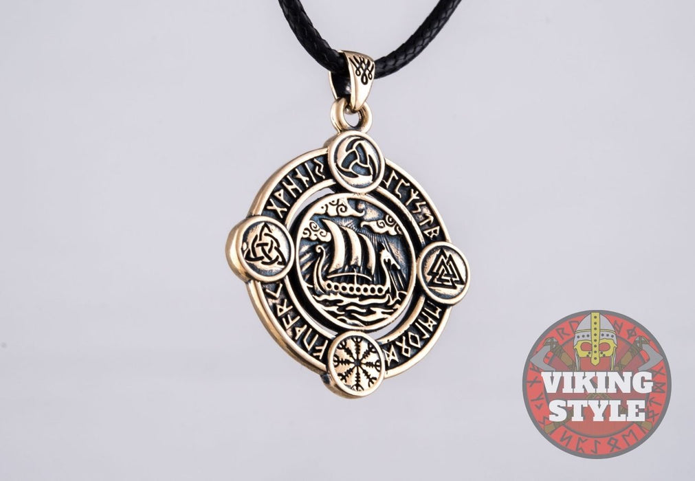 Viking Ship Pendant VI - Drakkar, Bronze