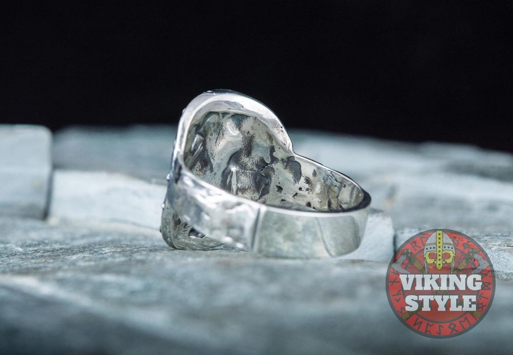 Viking Shield Ring - Fehu, 925 Silver