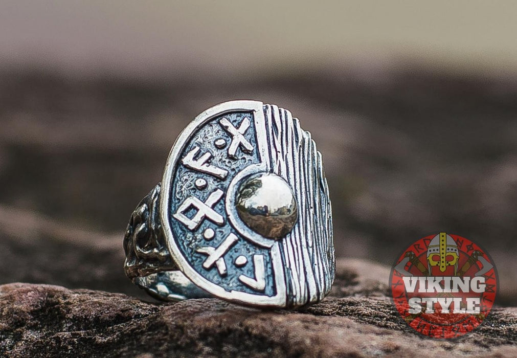 Viking Shield Ring - Runic, 925 Silver