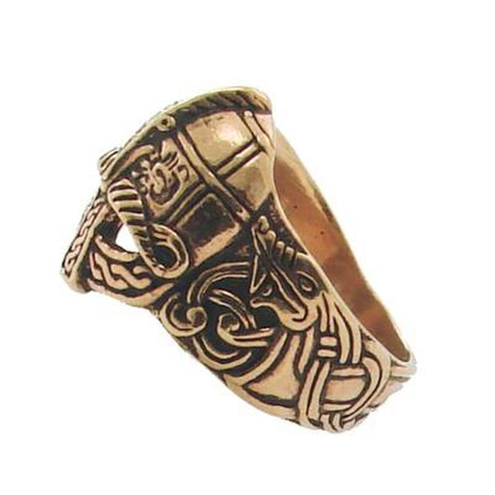 Bronze Viking Helmet Ring-VikingStyle