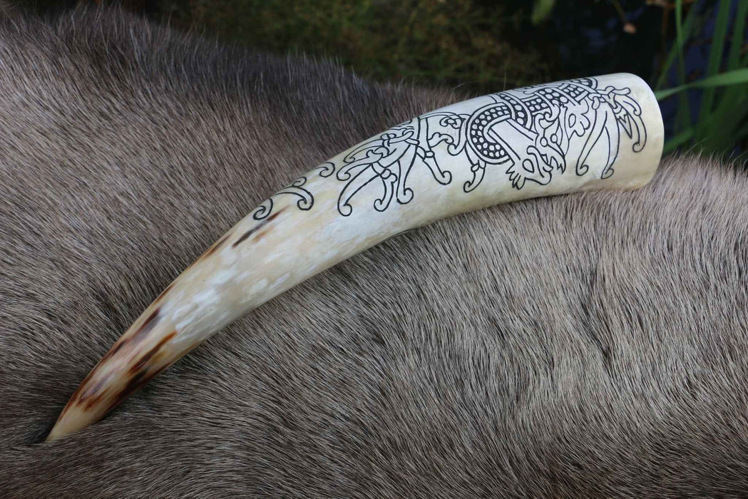 Nordic Dragon Drinking Horn