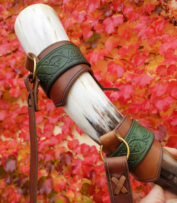 Norse Signal Horn with Deluxe Leather Holder-VikingStyle