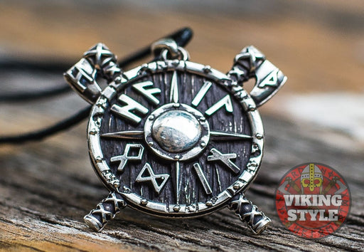 Viking Shield & Axe Pendant - Large, 925 Silver
