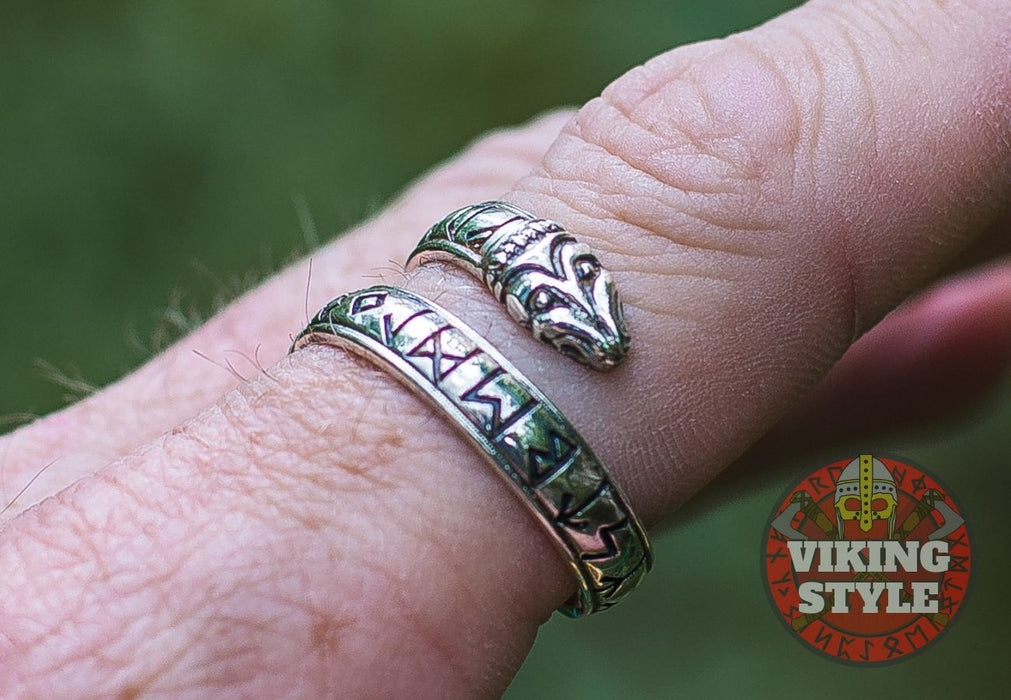 Adjustable Rune Ring - 925 Silver