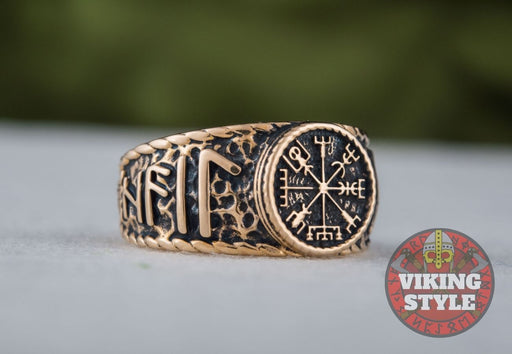 Vegvísir Ring - Odin Collection, Bronze