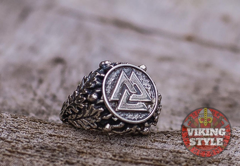 Valknut Ring - Oak Leaves, 925 Silver