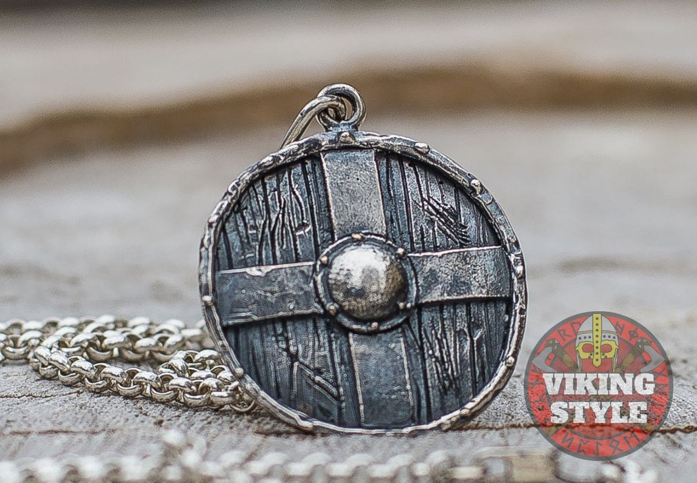 Viking Shield Pendant - Cross Shield, 925 Silver