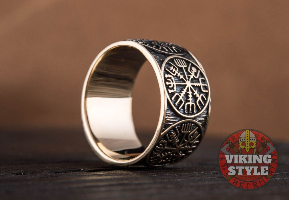 Vegvisir Ring - Band, Bronze