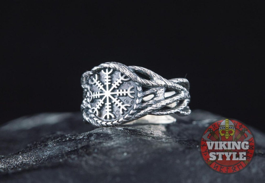 Ægishjálmur Ring - Tree of Life, 925 Silver