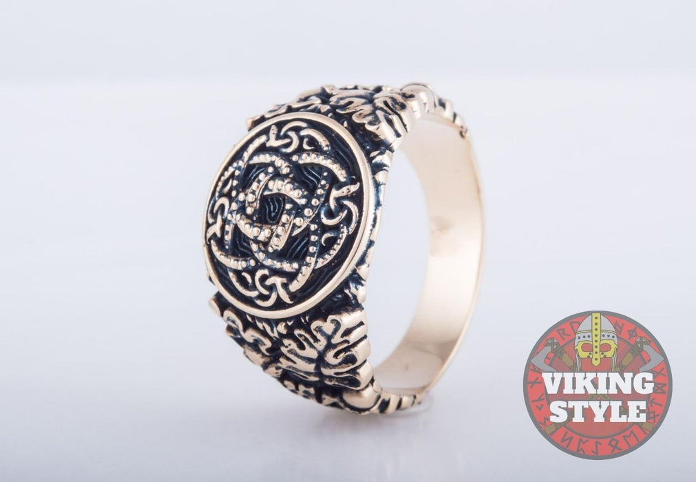 Jörmungandr Ring - Oak Leaves, Bronze