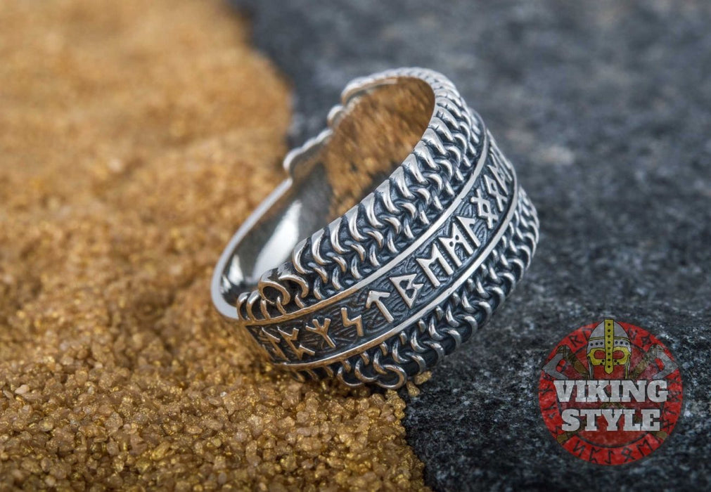Runic Ring - Chainmail, 925 Silver