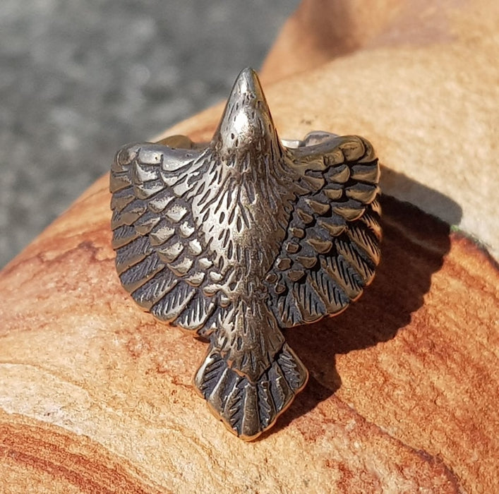 Bronze Viking Raven Ring-VikingStyle