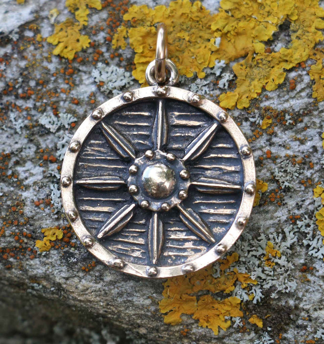 Bronze Viking Shield Pendant-VikingStyle