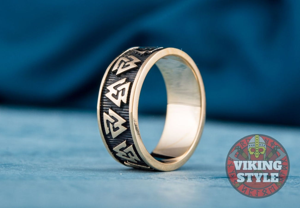 Valknut Ring - Band, Bronze