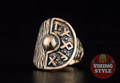 Viking Shield Ring - Runic, Bronze
