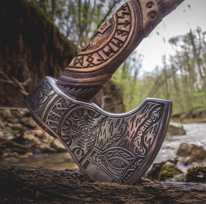 Handmade Viking Axe - Odin + Helm of Awe