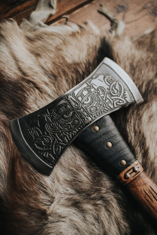 Engraved Double Bladed Axe