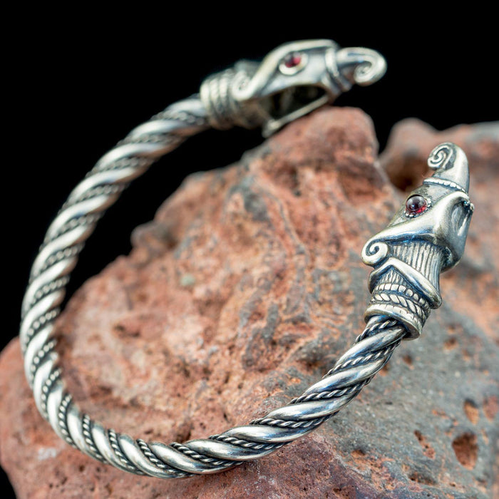 Silver Huginn & Muninn Arm Ring-VikingStyle