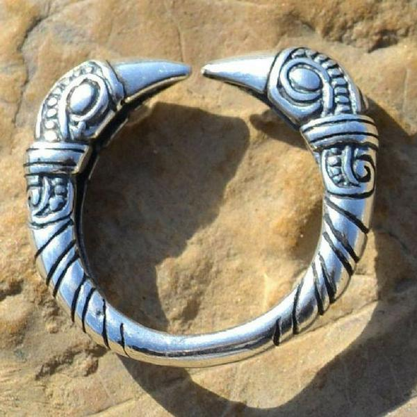 Silver Raven's Head Ring-VikingStyle