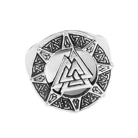 Stainless Steel Valknut Ring-VikingStyle