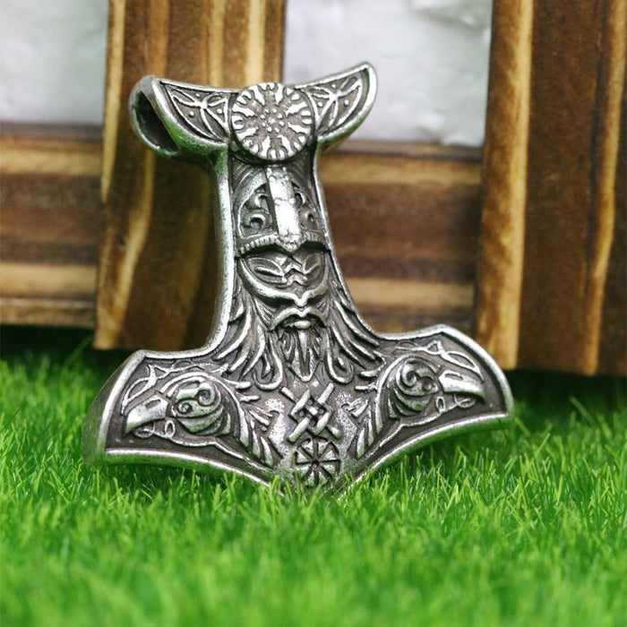 Thor's Hammer Pendant featuring Odin's Ravens.-VikingStyle