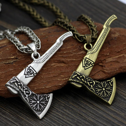 Valknut Axe Necklace-VikingStyle