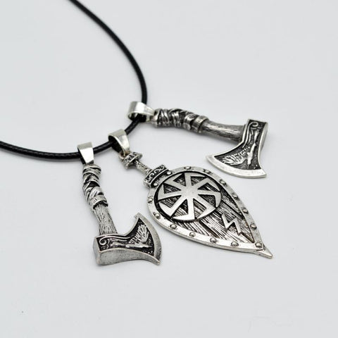 Viking Shield and Axe Necklace-VikingStyle