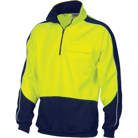 3823 DNC Hi Vis 2 Tone 1/2 Zip Hi-Neck Panel Fleecy Windcheater
