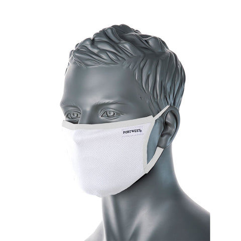 Portwest CV33 Anti-Microbial 3ply Fabric Face Mask