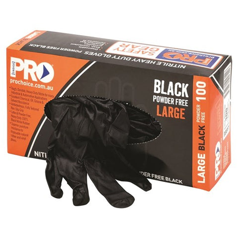 Disposable Nitrile Powder Free, Heavy Duty, Black Gloves