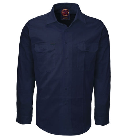 Ritemate RM1000 Open Front Navy L/S Shirt