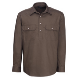 Ritemate Mens Pilbara Closed Front L/S Work Shirt