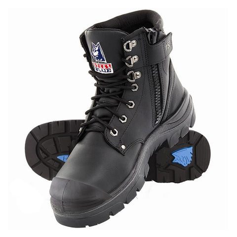 Steel Blue Argyle Safety Boots with Zip & Bump Cap