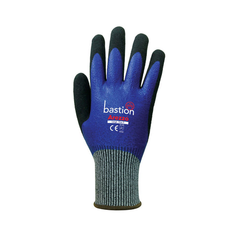 Arezzo - Grey HPPE Gloves, Blue Full Nitrile Coating & Black Sandy Foam Nitrile Coating