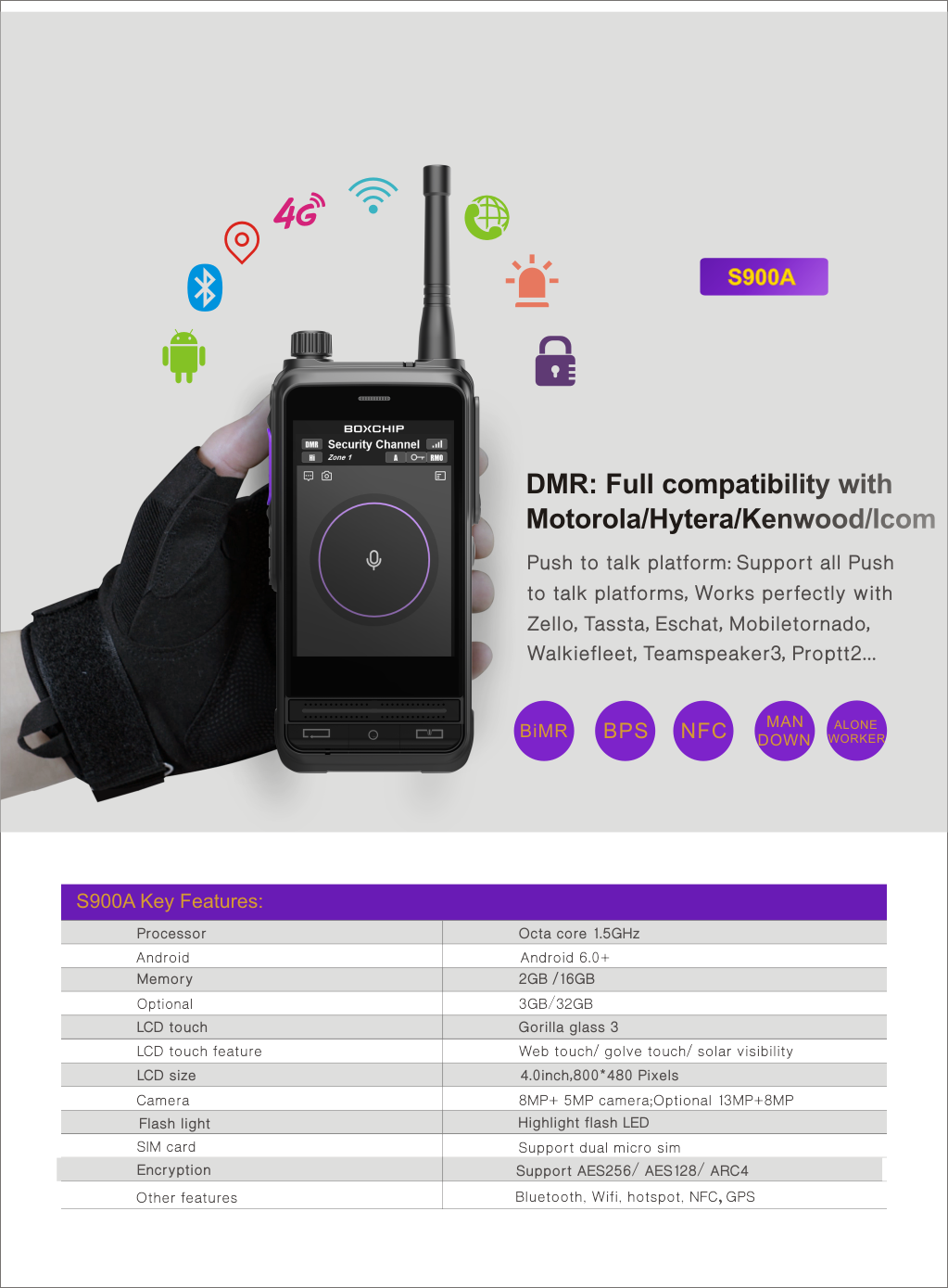 S900A DMR & 4G LTE Multimode PTT-Over-Cellular all in One Network Radio