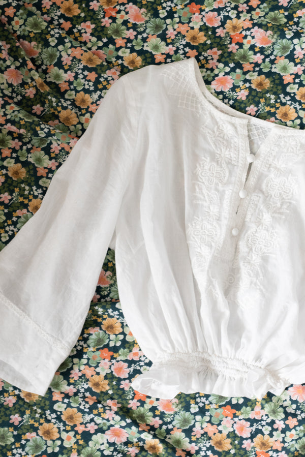 White Embroidered Crop Blouse