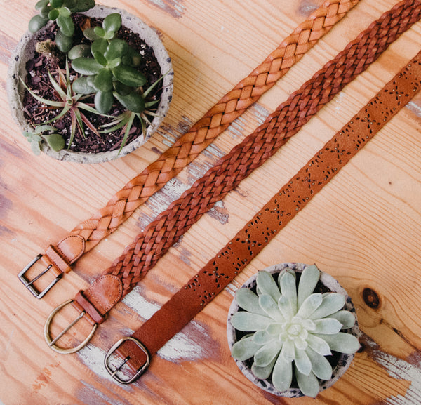 Rose Tan Plait Leather Vintage Belt