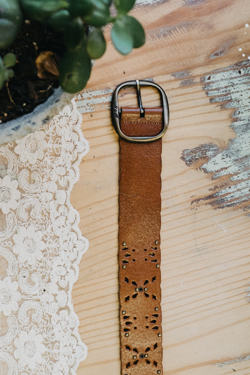 Roxy Tan Stud Cut Vintage Belt