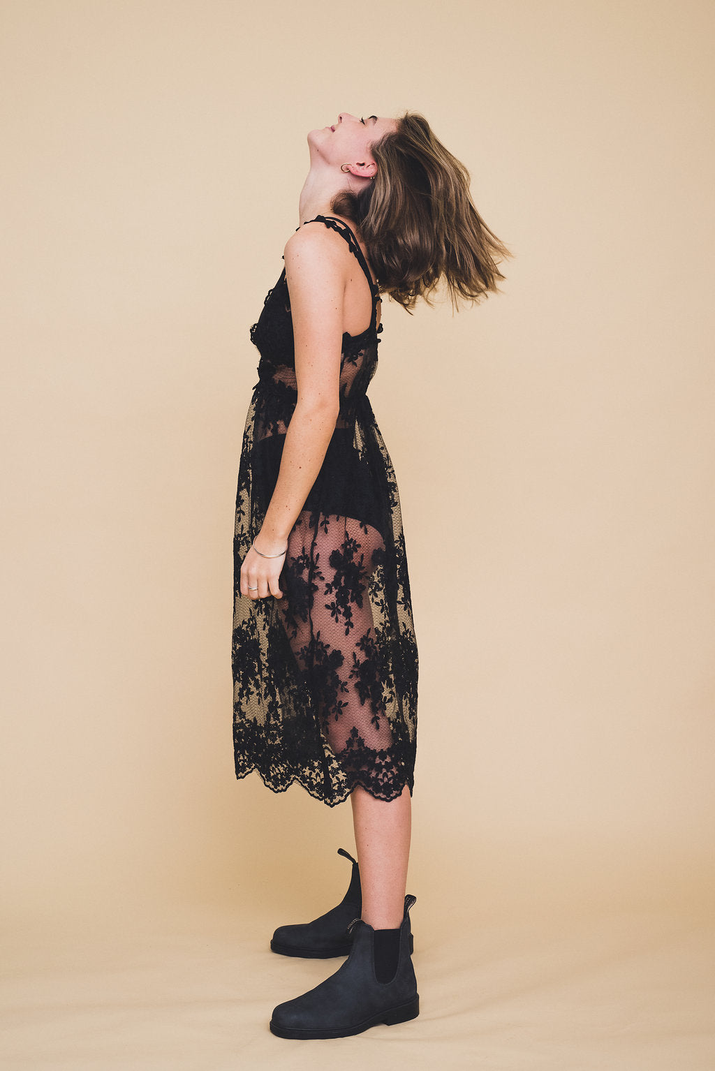 The Sansa Black Lace Slip Dress