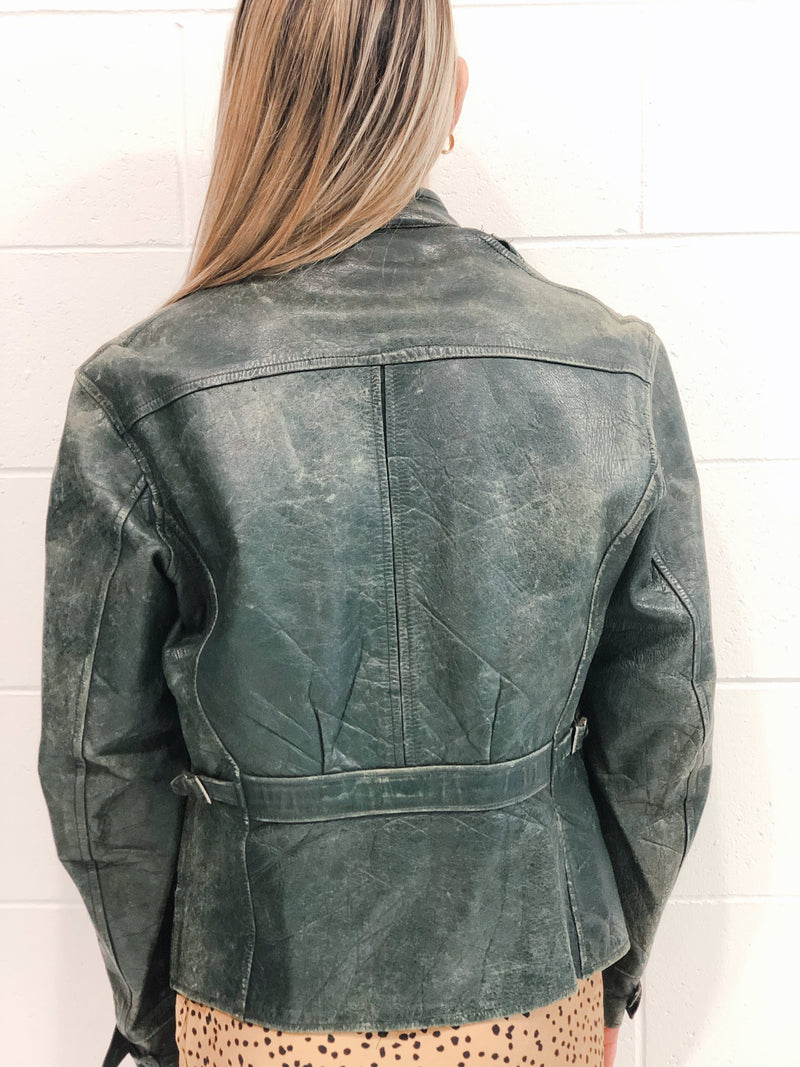 Vintage Leather Biker Jacket Size 10-12