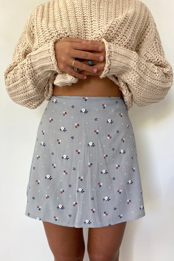 Leah Navy Floral Skirt