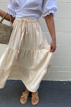 Daisy Cotton Maxi Skirt Cream
