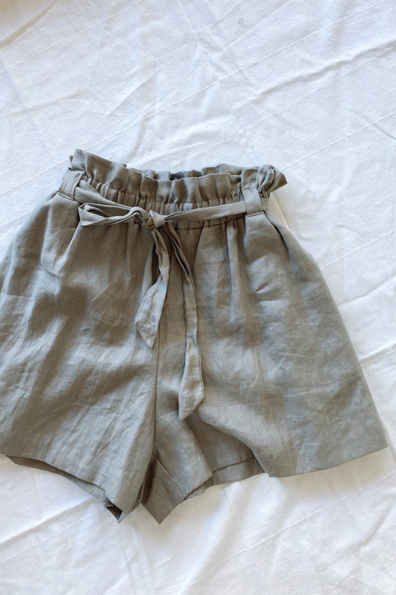 Alice Linen Short Grey