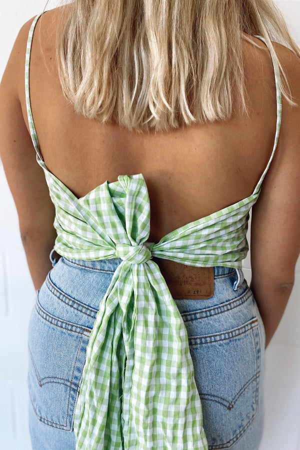 Linen Versatile Wrap Top Green Gingham