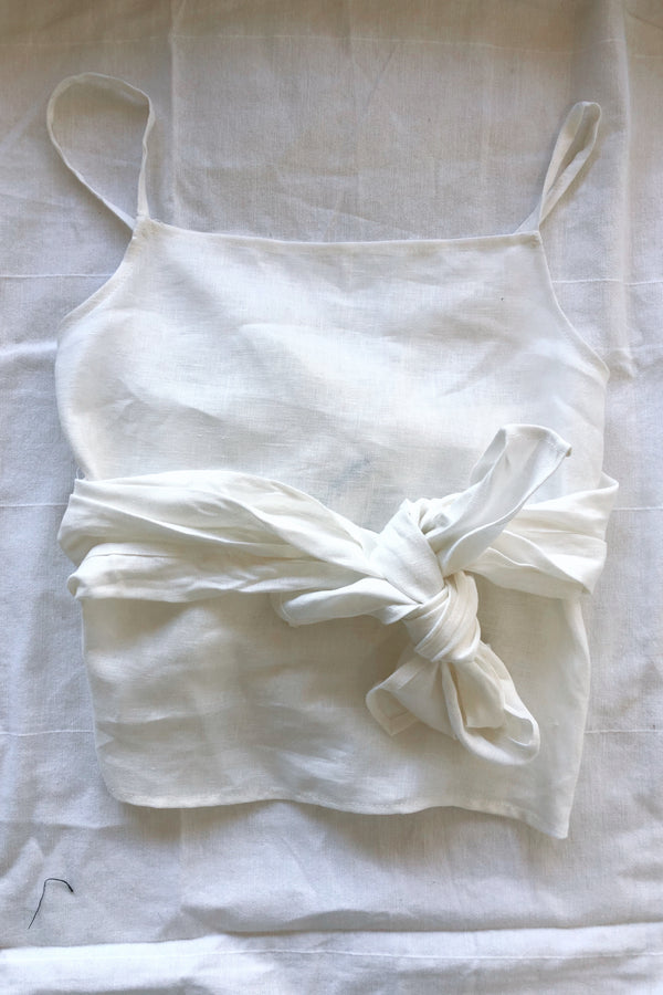 Linen Versatile Wrap Top White